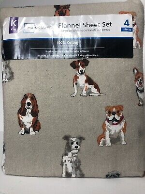 NEW Mainstays Best Friends Dog Print Cotton Flannel Sheets King Size 4 Piece Set
