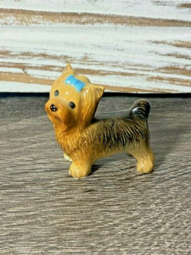 Vintage Yorkshire Terrier Yorkie Dog with Blue Bow Miniature Figurine 1.5""