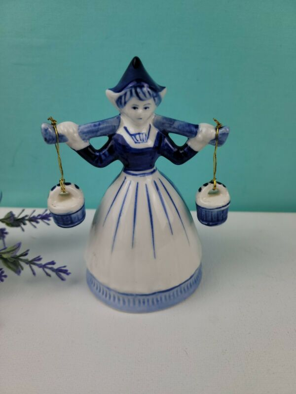 Delft Blue Farm Girl Bell