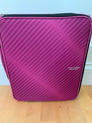 Pink Five Star Zipper Binder 2 Inch 3 Ring 6-pocket Expanding File