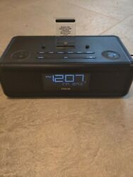 iHome IDL43 Dual Charging FM Clock Radio With Lightning Dock Black for iPhone
