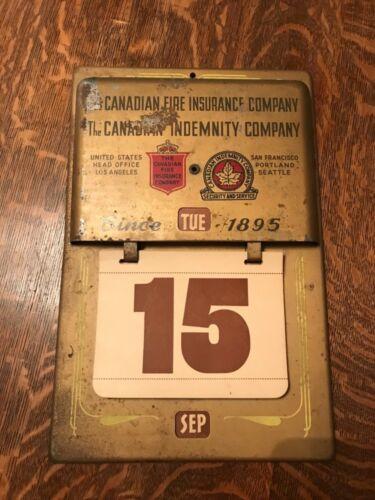 Vintage Metal Perpetual Wall Calendar Canadian Fire Insurance Company Ad