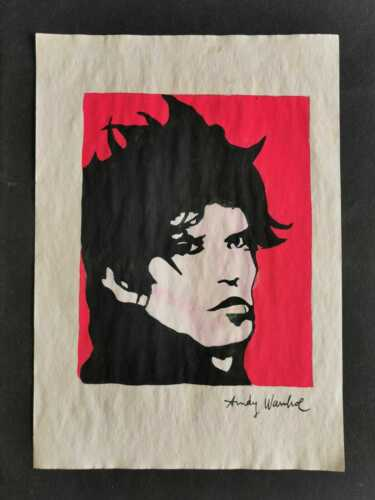 ANDY WARHOL DRAWING ON OLD PAPER MIXED MEDIA VTG ART