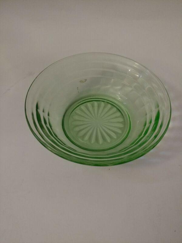 Hocking Block Optic Depression Glass Uranium Glass green vintage