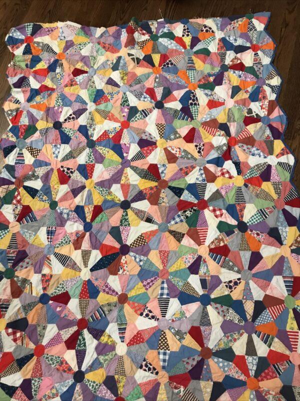 grandma flower GARDEN MACHINE STITCHED quilt top scallope  Primary Bright 74x54