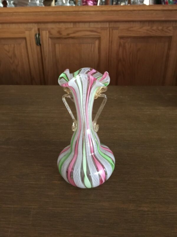 Antique Ribbon Glass small Vase
