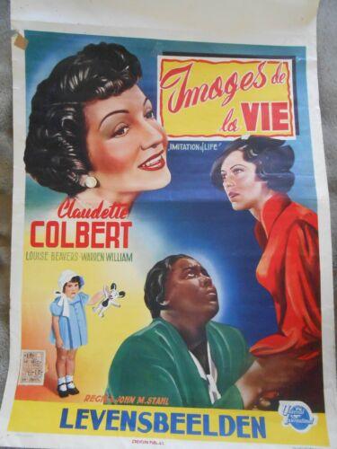 Imitation of Life Original Belgian Movie Poster Claudette Colbert with stamp