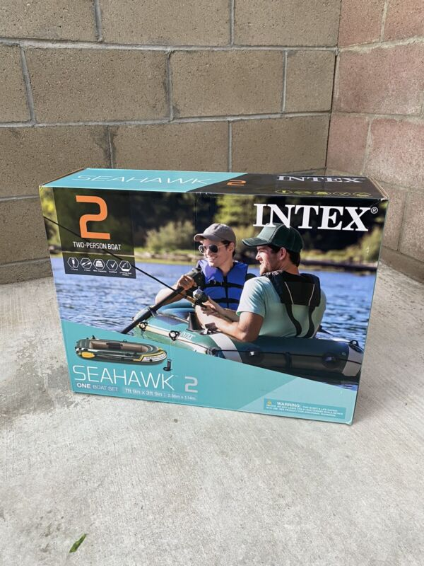 Intex 68347EP Seahawk 2 person Inflatable Boat Set with Air Pump and French Oars