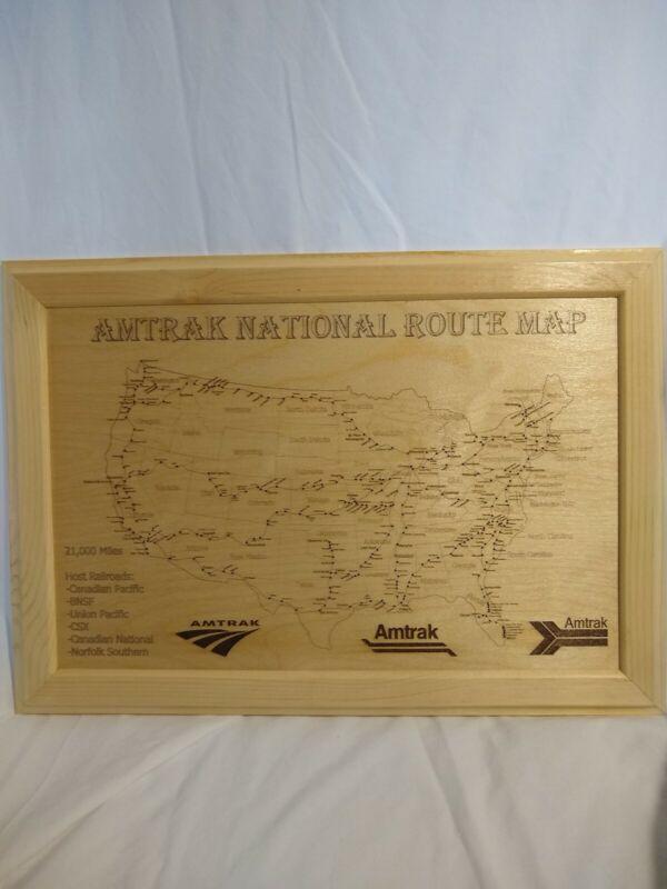 Amtrak National Route Map 20X14 Hardwood With Softwood Framing. Builder,Zepher..