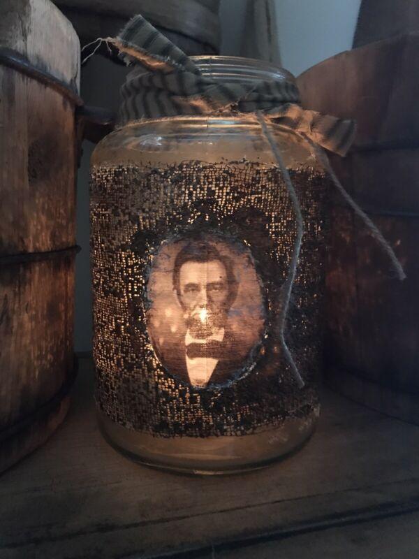Primitive Abe Lincoln Grubby Lantern Jar