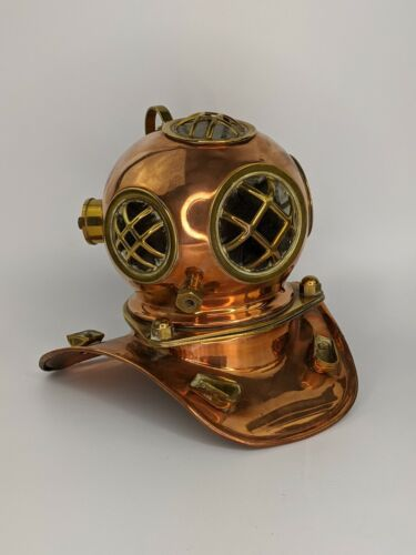 Vintage Copper & Brass Miniature Divers Helmet - Rolex Submariner Shop Display