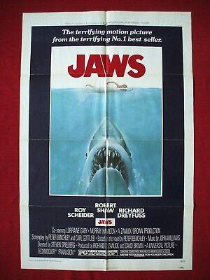 JAWS *1975 ORIGINAL MOVIE POSTER 1SH VINTAGE STEVEN SPIELBERG SHARK HALLOWEEN NM (Steven Spielberg Halloween Movies)