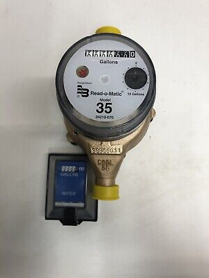 Badger 34x 34 M35 Brass Water Meter Pulse With Remote. Gallon Or Cubic Feet