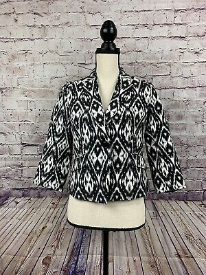 Talbots Black & White Lined Ikat Print Career Blazer 2P