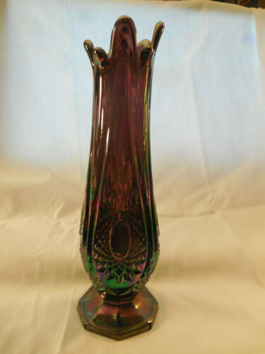 Indiana glass heirloom amethyst carnival glass swung vase 11""