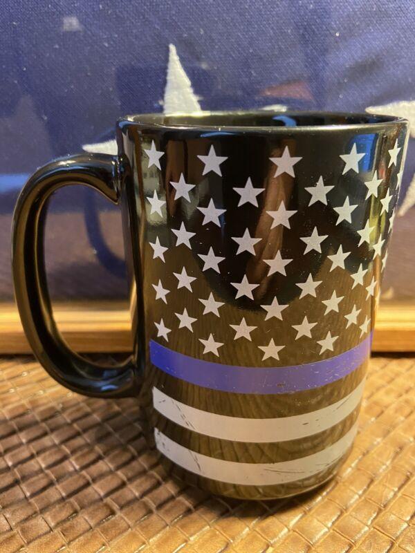 Police Thin Blue Line American Flag Coffee Mug 15oz.