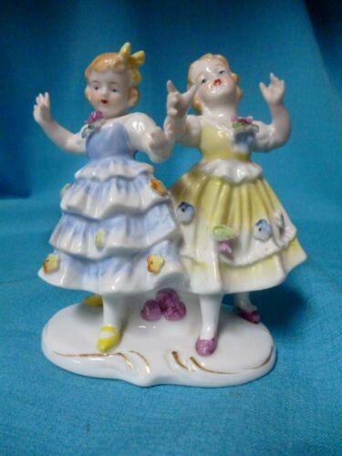 VINTAGE AGED ~  DRESDEN PORCELAIN FIGURINE PAIR  TWINS GIRLS   MADE IN JAPAN