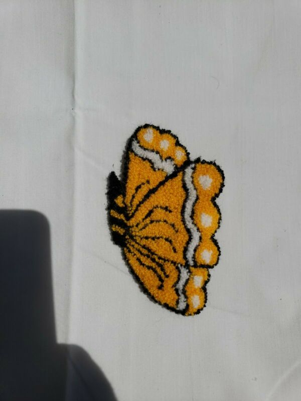 Vintage Punch Needle Embroidery Small Butterfly Applique Patch Craft EUC