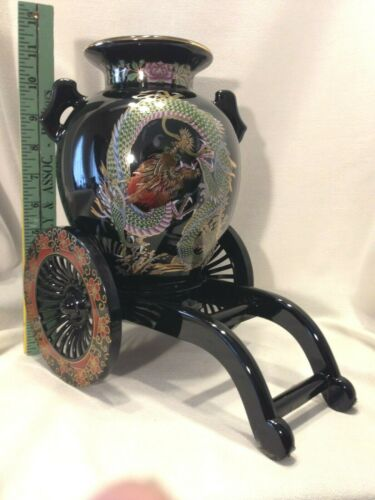"Vintage Large Japanese Vase Black Green & Gold Dragon & Rickshaw Stand 11.5"" Ta"