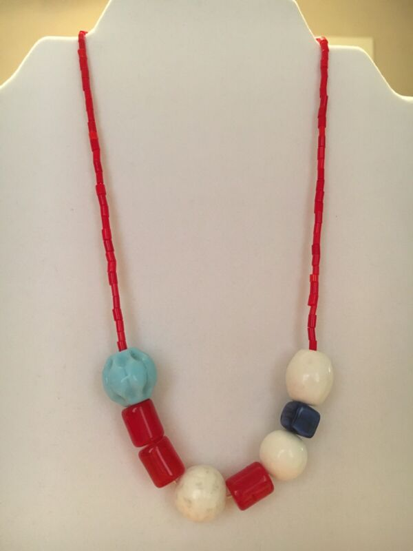 Vintage Czechoslovakian Red, White And Blue Glass Mardi Gras Beads Necklace