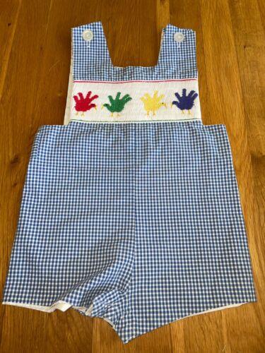Thanksgiving Toddler Boys Size 3T Blue Smocked Turkey Handprint Shortall Romper