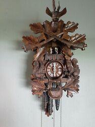 Vintage Anton Schneider Sohne Black Forest Hunter Cuckoo Clock Musical 8 day