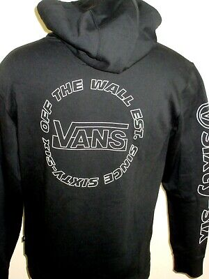 Vans Mens Framework OTW Since 1966 Pullover Hoodie Sweatshirt Black White NWT