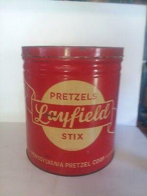 Vintage 1940s /50s Layfield's Pretzels Stix (Large Tin) By Pennsylvania Pretzel