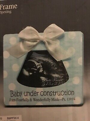 Baby Under Construction Ultrasound Photo Frame Blue Frame - Psalm 139:14 - Ultrasound Photo