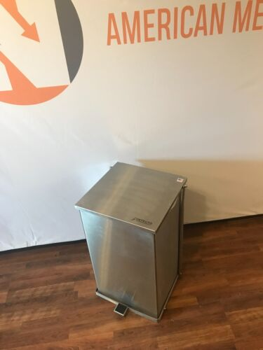 Detecto C-100 Stainless Hands Free Trash Can 100 Quart Step-On Waste Receptacle