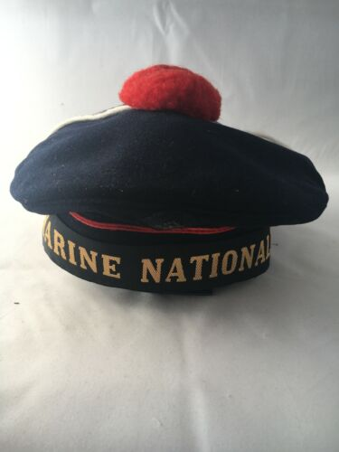Original Vintage French Navy Marine Nationale Sailors Cap Hat