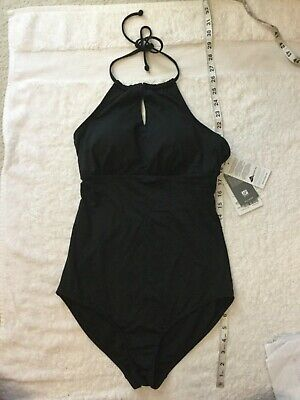 NWT Athleta ST S Tall Black Keyhole High Neck One Piece Halter Swim Suit Keyhole Halter Suit
