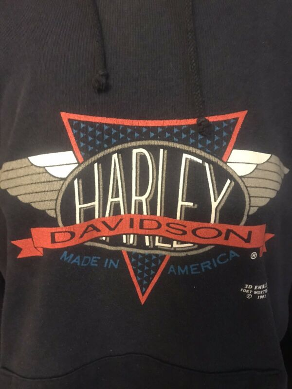 Vintage 1991 Harley Davidson 3D Emblem Black Hoodie Sweatshirt Fort Worth Texas