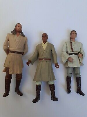 Star Wars Figures lot Qui Gon Jinn, Obi Wan Kenobi and Mace Windu