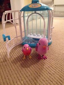 Live PETs Pink talking bird with cage