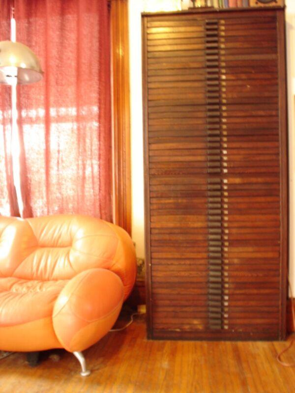 Antique Vintage Industrial HAMILTON MFG CO 50 Drawer Wood Block Printers Cabinet