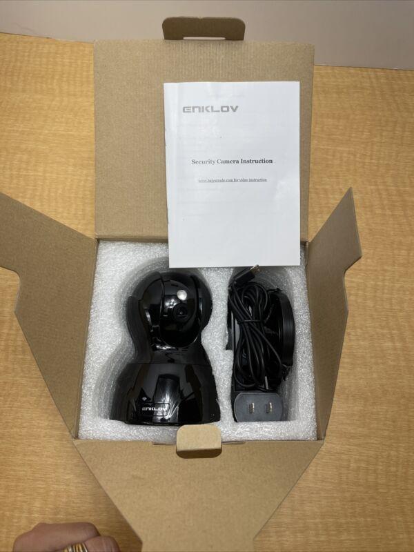Enklov cloud IP camera 827-X wifi 1080p Pan Tilt Audio motion Open Box Black