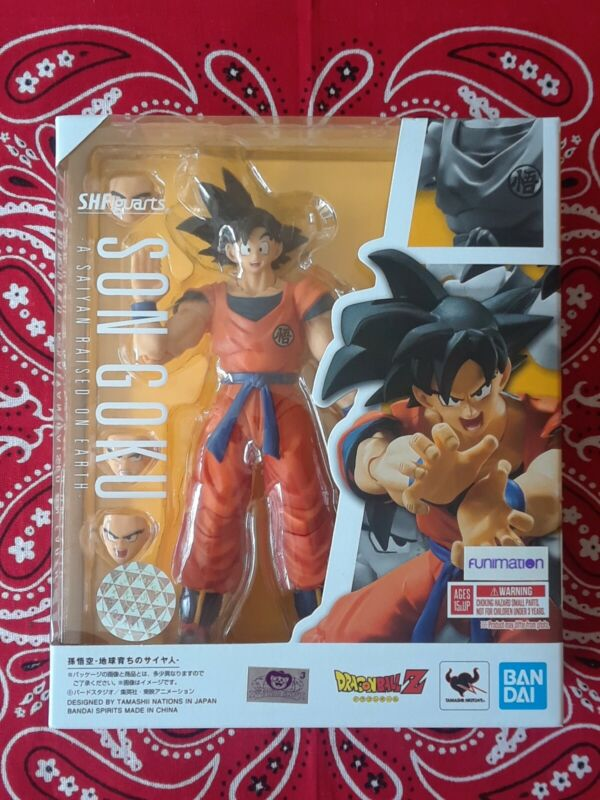 S.H. Figuarts Dragonball Z Son Goku A Saiyan Raised on Earth Authentic New