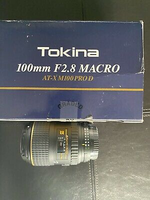 Tokina 100mm f/2.8 Macro AT-X M100 Pro D Lens for Nikon in Excellent Condition.