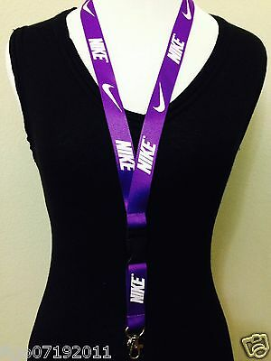 New! Nike Lanyard violet Keychain, ID Badge, cell phone holder