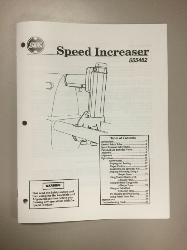 Shopsmith Speed Increaser Manual 555462