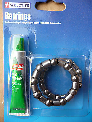 "Weldtite 5/16"" BMX Bottom Bracket BB Cage Ball Bearings Pair & Grease Bike Cycle"