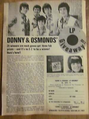 The Osmond Brothers, Osmonds, Donny, Full Page Vintage Clipping