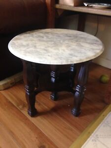 Vintage Solid Hardwood And Marble Top Accent Table