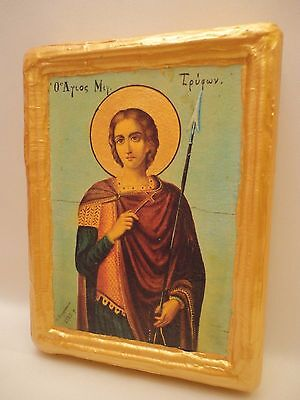 Saint Tryphon Tryfon Agios Tryfonas  Rare Byzantine Greek Orthodox Icon On Wood