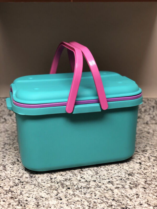 Eagle CraftStor Vintage Teal Plastic Craft Sewing Storage Organizer Tote W TRAY