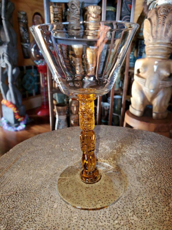 Rare Morgantown Polynesian Amber Tiki Stem Martini glass Trader Vic