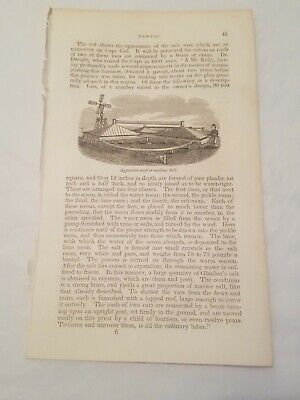 CR11) Salt Making Cape Cod Massachusetts c1841 Engraving Print Pear Tree Eastham