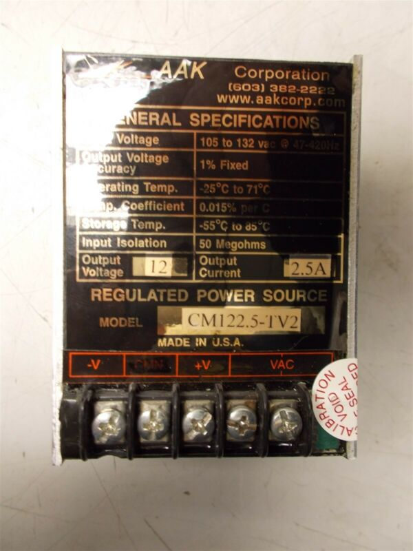 AAK Corporation Regulated Power Supply Model CM122.5-TV2