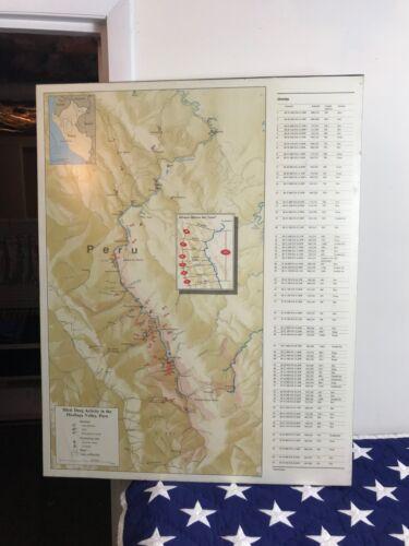 RARE Huallaga Valley, Peru Illicit drug activity DEA Drug topographic MAP large
